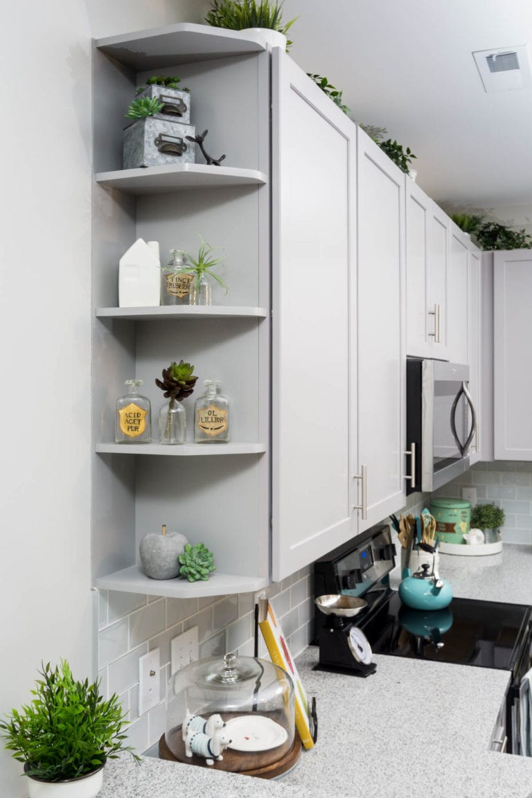Built-in decorative shelves in kitchen | theRED Apartments | Cincinnati